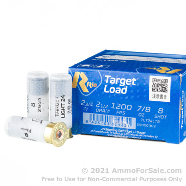 250 Rounds of 7/8 ounce #8 Shot 12ga Ammo by Rio