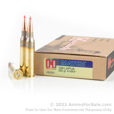 20 Rounds of 285gr A-Max 338 Lapua Magnum Ammo by Hornady