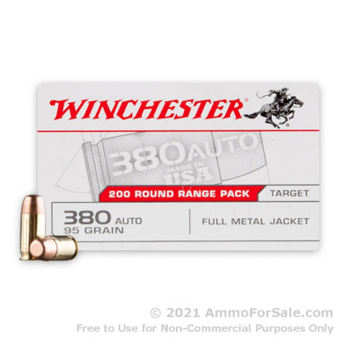 1000 Rounds of 95gr FMJ .380 ACP Ammo by Winchester