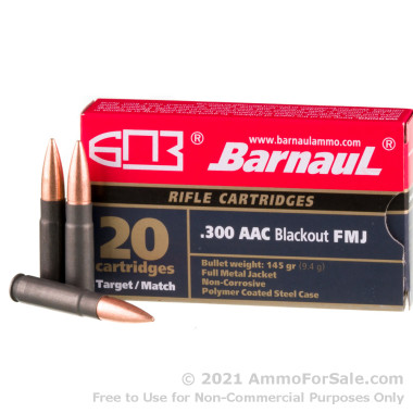 20 Rounds of 145gr FMJ .300 AAC Blackout Ammo by Barnaul