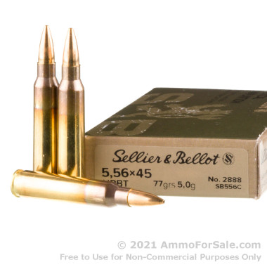 20 Rounds of 77gr HPBT 5.56x45 Ammo by Sellier & Bellot