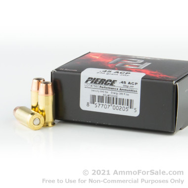 20 Rounds of 230gr JHP .45 ACP Ammo by Pierce Performance Ammunition