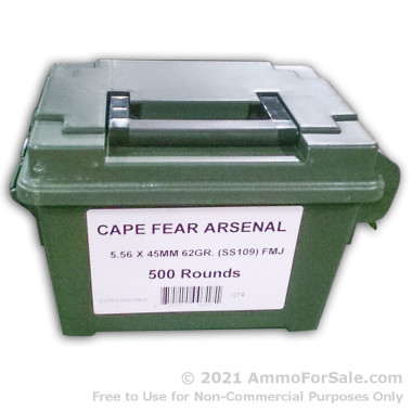 500  Rounds of 62gr FMJ 5.56x45 Ammo by Cape Fear