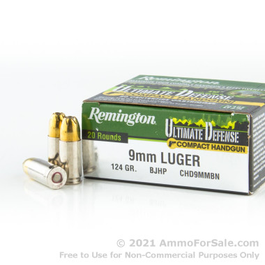20 Rounds of 124gr JHP 9mm Ammo by Remington Ultimate Defense Compact