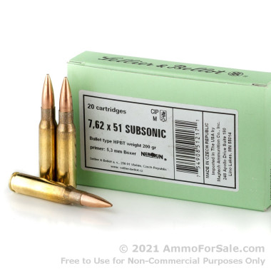 20 Rounds of Subsonic 200gr HPBT .308 Win Ammo by Sellier & Bellot