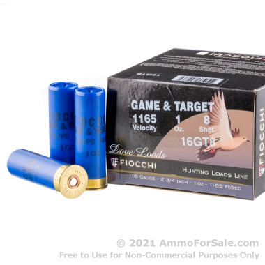 25 Rounds of 1 ounce #8 shot 16ga Ammo by Fiocchi