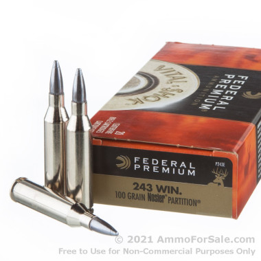 20 Rounds of 100gr Nosler Partition .243 Win Ammo by Federal Vital-Shok