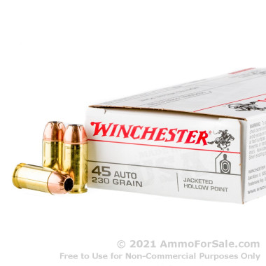 500  Rounds of 230gr JHP .45 ACP Ammo by Winchester USA
