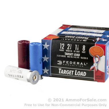 250 Rounds of 1 1/8 ounce #8 shot 12ga Wounded Warrior Ammo by Federal Top Gun