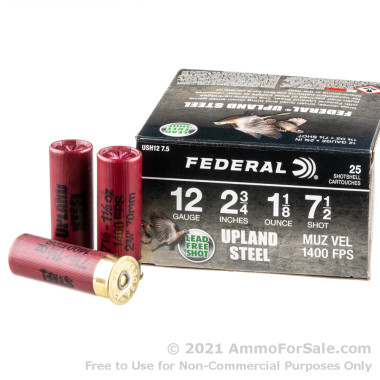 25 Rounds of 1-1/8 ounce #7.5 steel shot 12ga Ammo by Federal