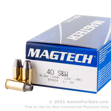 50 Rounds of 160gr Semi-Wadcutter .40 S&W Ammo by Magtech