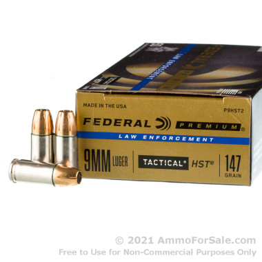 50 Rounds of 147gr HST JHP 9mm Ammo by Federal Law Enforcement