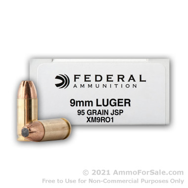 1000 Rounds of 95gr JSP 9mm Ammo by Federal