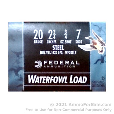 25 Rounds of 3/4 ounce #7 Shot (Steel) 20ga Ammo by Federal