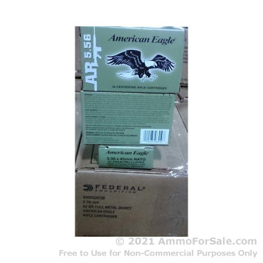 600 Rounds of 62gr FMJ 5.56x45 Ammo by Federal American Eagle