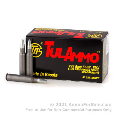 40 Rounds of 55gr FMJ .223 Ammo by Tula