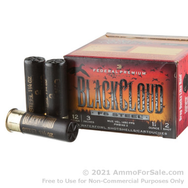 """25 Rounds of 3"""" 1-1/4 ounce #2 Shot 12ga Ammo by Federal Blackcloud Close Range"""