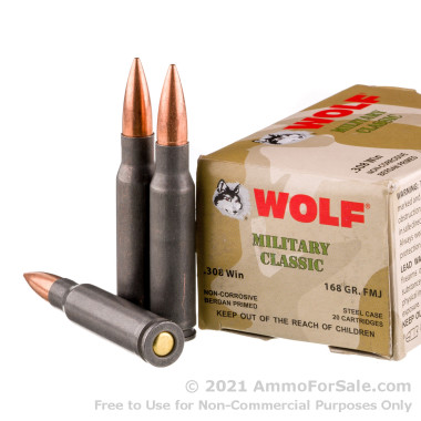 500 Rounds of 168gr FMJ .308 Win Ammo by Wolf