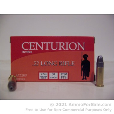5000 Rounds of 38gr HP .22 LR Ammo by Centurion