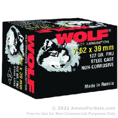 500  Rounds of 122gr FMJ 7.62x39mm Ammo by Wolf