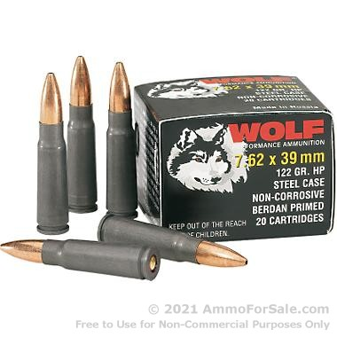500  Rounds of 122gr HP 7.62x39mm Ammo by Wolf