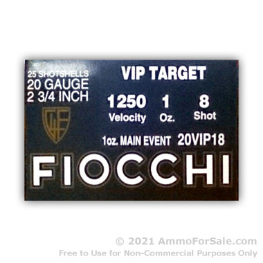 25 Rounds of 1 ounce #8 shot 20ga Ammo by Fiocchi