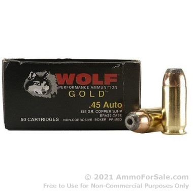 50 Rounds of 185gr JHP .45 ACP Ammo by Wolf