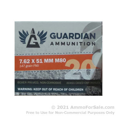 640 Rounds of 147gr FMJ .308 Win Ammo by Guardian Ammunition