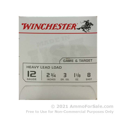 """25 Rounds of 2 3/4"""" 1 1/8 ounce #8 shot 12ga Ammo by Winchester USA"""