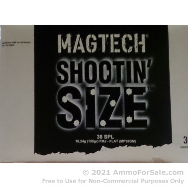 300 Rounds of 158gr FMJFN .38 Spl Ammo by Magtech Shootin' Size