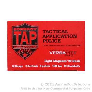 10 Rounds of #00 Buck 12ga Ammo by Hornady TAP LE