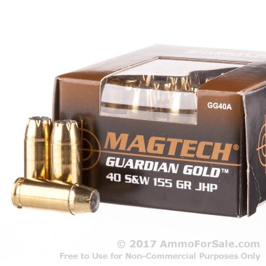 20 Rounds of 155gr JHP .40 S&W Ammo by Magtech