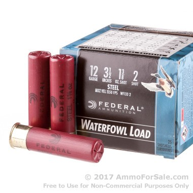 """25 Rounds of 1 3/8 ounce #2 Shot (Steel) 12ga 3-1/2"""" Ammo by Federal"""