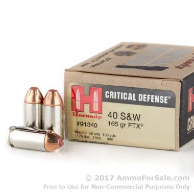 20 Rounds of 165gr JHP .40 S&W Ammo by Hornady