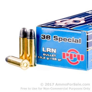 250 Rounds of 158gr LRN .38 Spl Ammo by Prvi Partizan