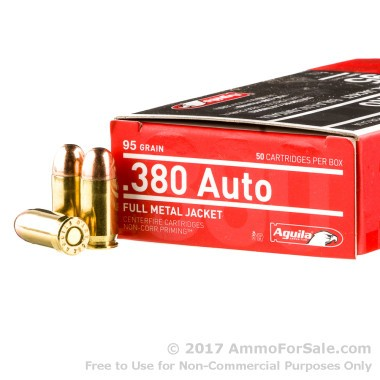 1000 Rounds of 95gr FMJ .380 ACP Ammo by Aguila