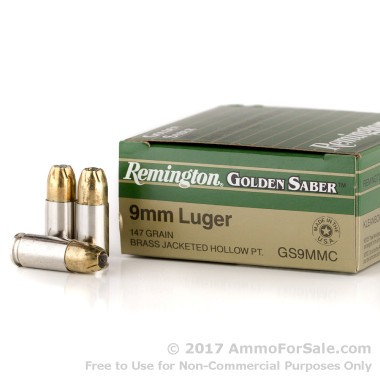 25 Rounds of 147gr JHP 9mm Ammo by Remington Golden Saber