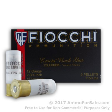 10 Rounds of LE Low Recoil 00 Buck 12ga Ammo by Fiocchi