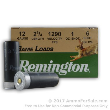 25 Rounds of 1 ounce #6 shot 12ga Ammo by Remington
