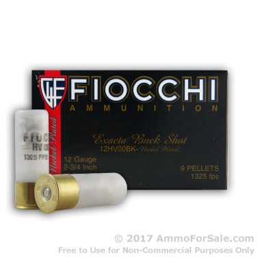 250 Rounds of  00 Buck 12ga Ammo by Fiocchi