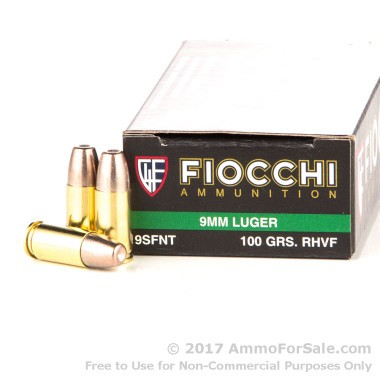 50 Rounds of 100gr Frangible 9mm Ammo by Fiocchi