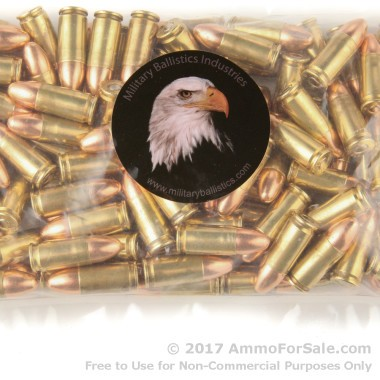 50 Rounds of 115gr FMJ 9mm Ammo by M.B.I.