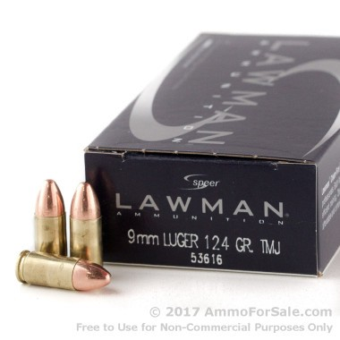 50 Rounds of 124gr TMJ 9mm Ammo by Speer