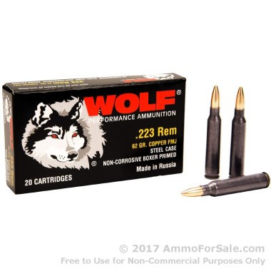 1000 Rounds of 62gr FMJ .223 Ammo by Wolf