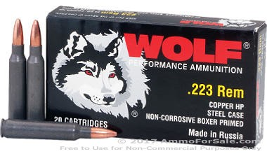1000 Rounds of 55gr HP .223 Ammo by Wolf