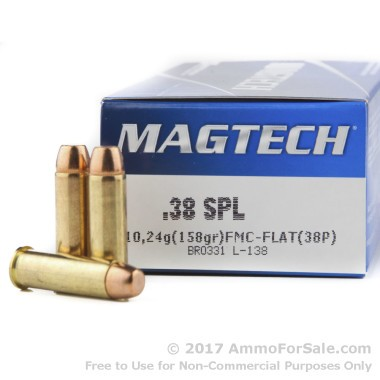 50 Rounds of 158gr FMC .38 Spl Ammo by Magtech