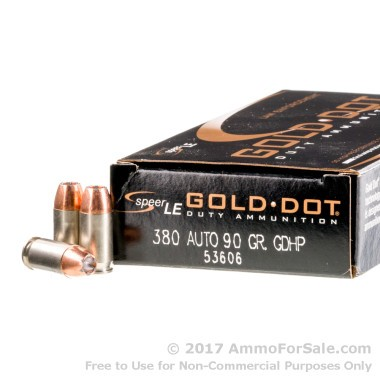 50 Rounds of 90gr JHP .380 ACP Ammo by Speer