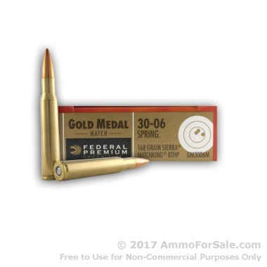20 Rounds of 168gr HPBT 30-06 Springfield Ammo by Federal