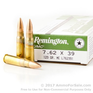 20 Rounds of 123gr MC 7.62x39mm Ammo by Remington