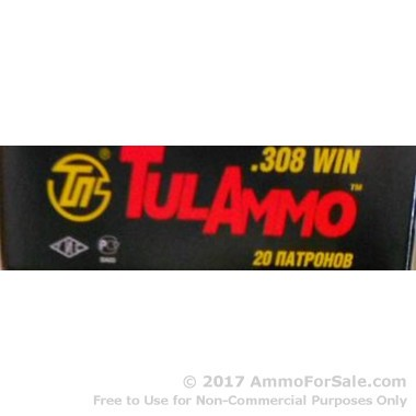 500  Rounds of 165gr SP .308 Win Ammo by Tula